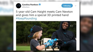 5-year-old fan gives Cam Newton a 3D printed hand so they could match