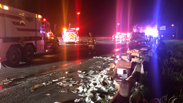 Truck carrying toilet paper catches fire, shuts down all lanes of westbound I-20