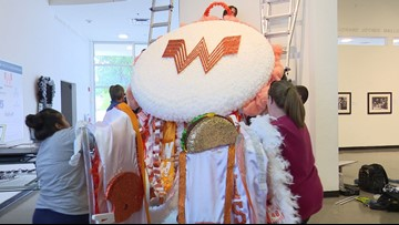 What a mum! Arlington Museum of Art unveils 18-foot-tall Whataburger mum amid Homecoming season