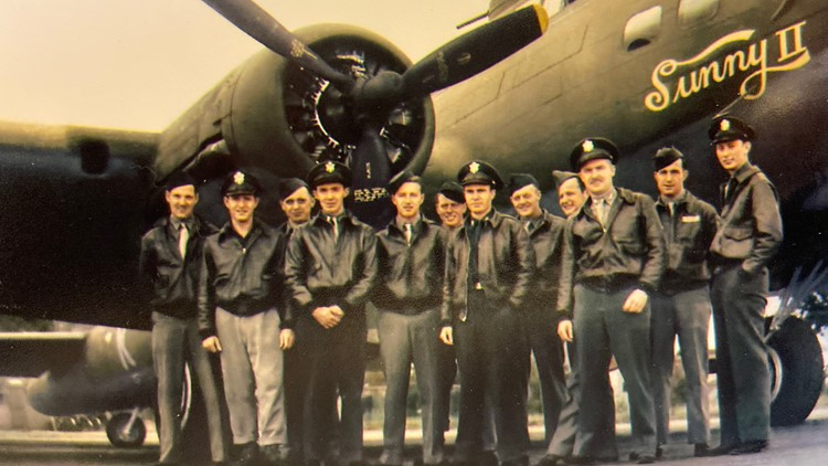 John Luckadoo is pictured on the far right, with the crew of his B-17 bomber