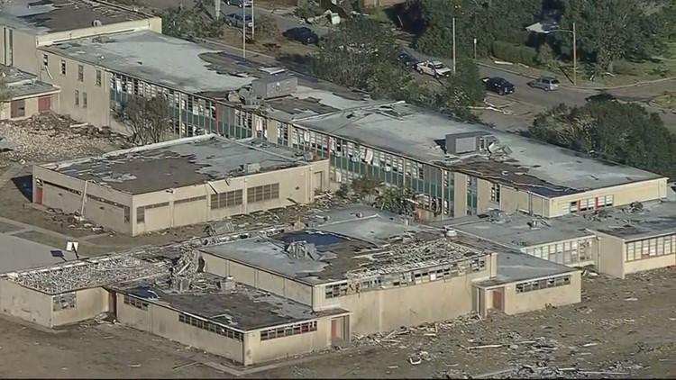 Cary Middle School tornado damage