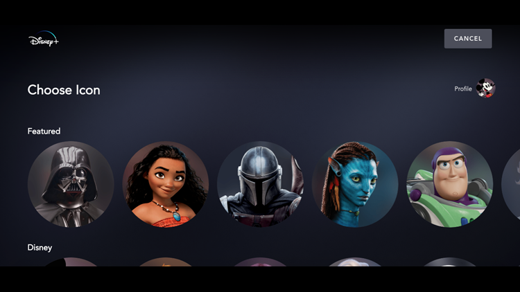 Disney+ Choose Icon screen