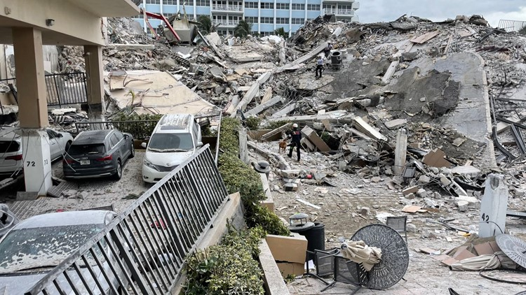 Fire chief says families at Surfside condo collapse site saw rescuer fall 25 feet