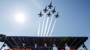 Blue Angels, Thunderbirds fly over DC to salute health care workers