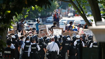 US Park Police, Secret Service officers and protesters face off near White House