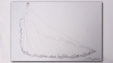 Sketches of the Royal Wedding dress unveiled by Kensington House