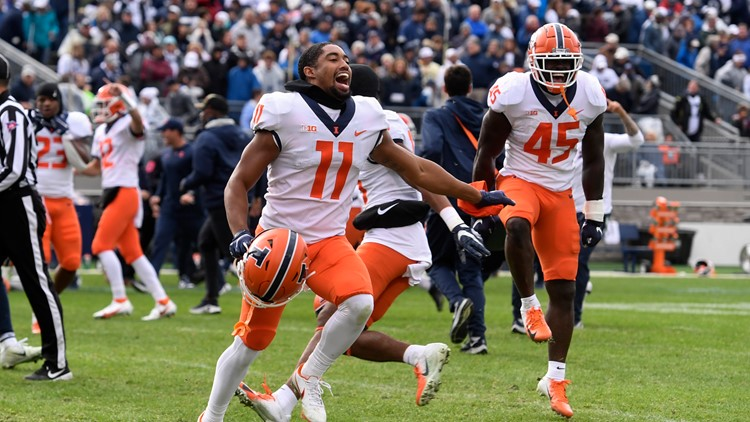 Illinois upsets No. 7 Penn State 20-18 in 9 overtimes